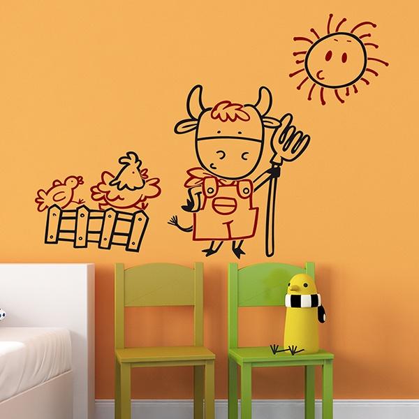 Stickers pour enfants: Agriculteur Multicoeour