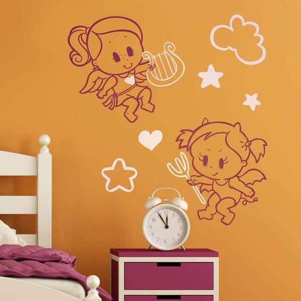 Stickers pour enfants: Multicolour Angel y Demonio