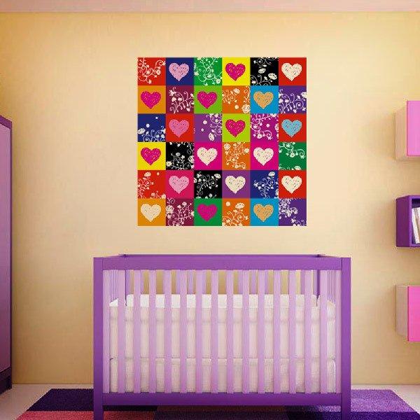 Stickers muraux: Coeurs colorés