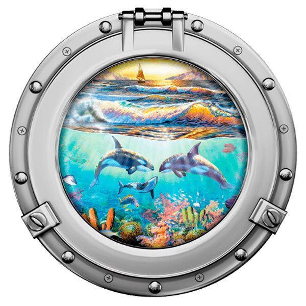Stickers muraux: Dauphins et voilier