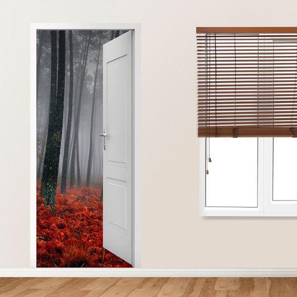 Stickers muraux: Porte ouverte forêt en automne