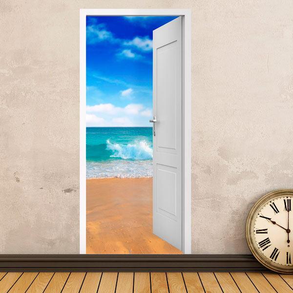 Stickers muraux: Porte ouverte plage et le ciel