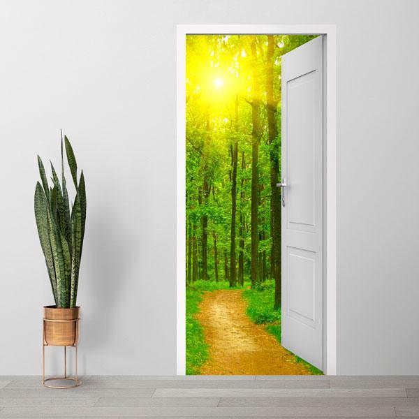 Stickers muraux: Porte ouverte chemin dans les bois