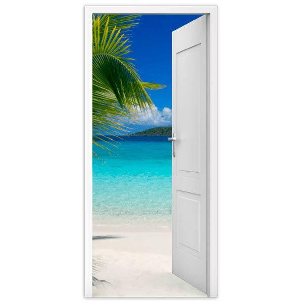 Stickers muraux: Porte ouverte plage et palmier