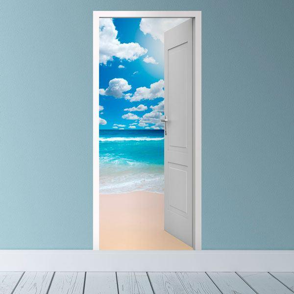 Stickers muraux: Porte ouverte et le ciel avec des nuages