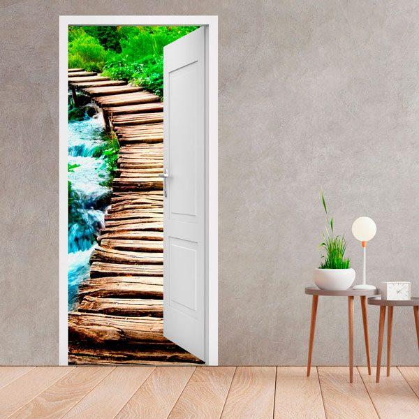 Stickers muraux: Porte ouverte pont de bois