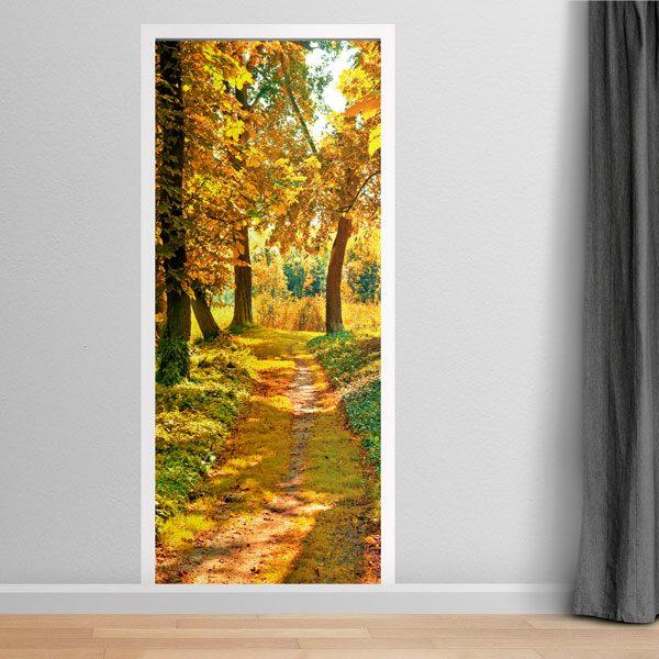 Stickers muraux: Porte chemin dans une forêt en automne
