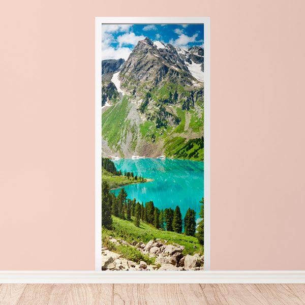 Stickers muraux: Porte montagne et un lac