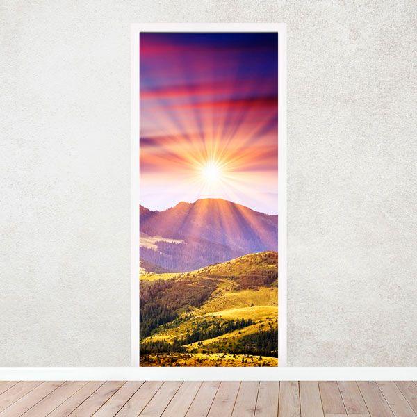 Stickers muraux: Porte montagne et le coucher du soleil