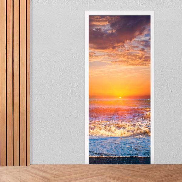 Stickers muraux: Porte coucher de soleil sur la plage