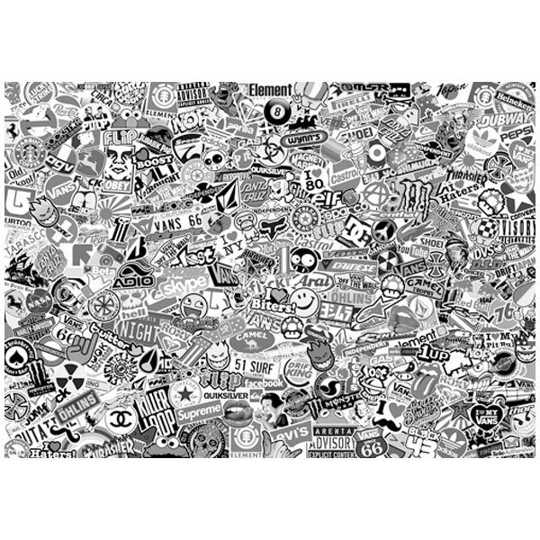 Autocollants: Stickerbomb XL noir et blanc