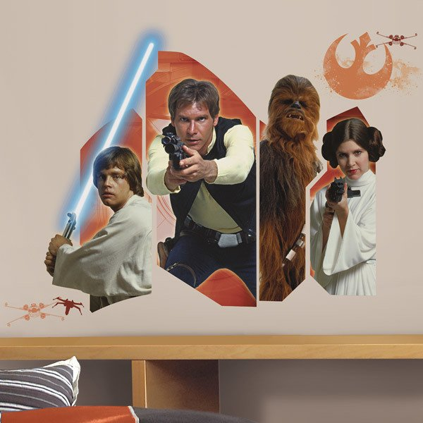 Stickers muraux: Star Wars Luke Solo Chewie et Leia