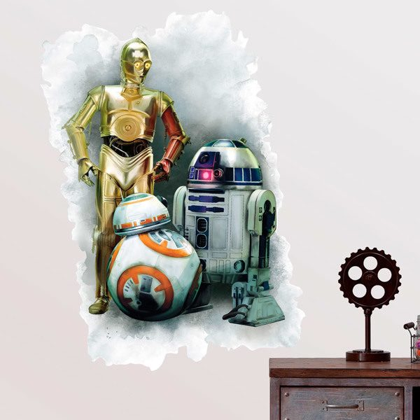 Stickers muraux: Sticker mural R2D2, C3PO et BB 1