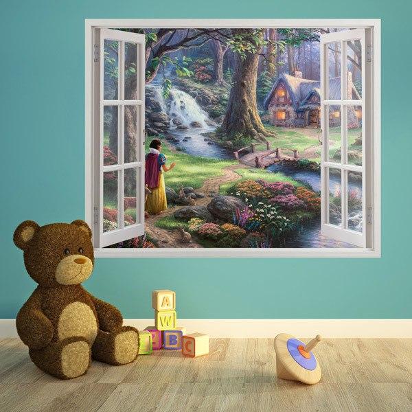 Stickers pour enfants: Blanche-Neige dans la forêt