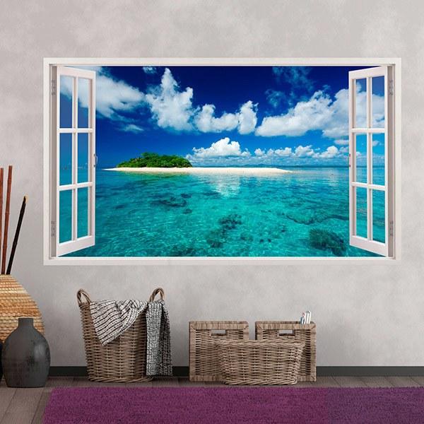 Stickers muraux: Panorama mer et l île dans les Caraïbes