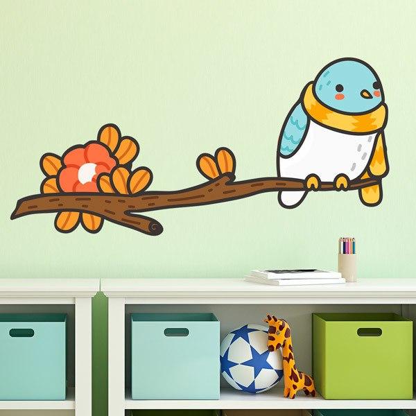 Stickers pour enfants: Oiseau avec un foulard sur la branche