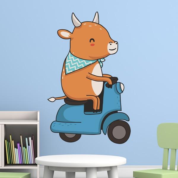 Stickers pour enfants: Vache et moto Vespa