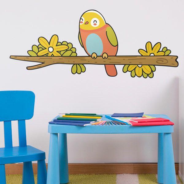 Stickers pour enfants: Oiseau 1 sur la branche en hiver