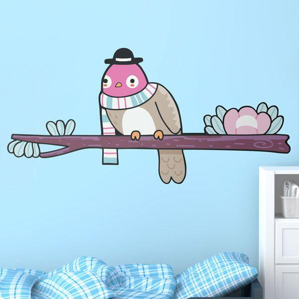 Stickers pour enfants: Oiseau 2 sur la branche en hiver