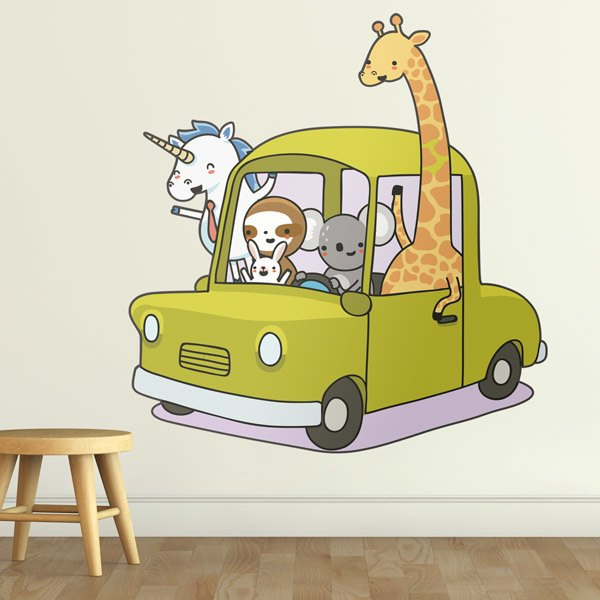 Stickers pour enfants: Voiture chargé avec des animaux