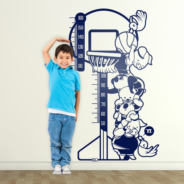 Stickers pour enfants: Toise Animaux Basketball