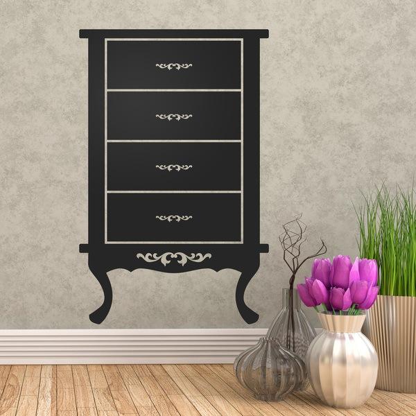 stickers muraux meubles vintage. Black Bedroom Furniture Sets. Home Design Ideas