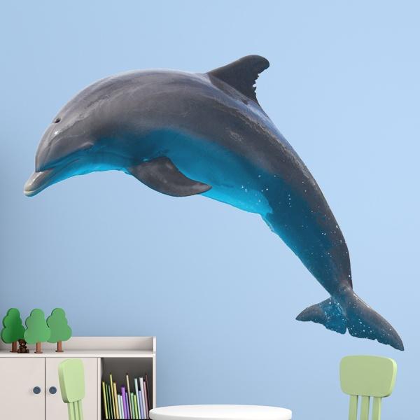 Sticker mural d\'un dauphin sautant | WebStickersMuraux.com