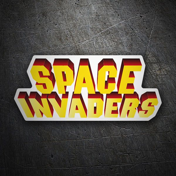 Autocollants: Space Invaders 3D Blanc
