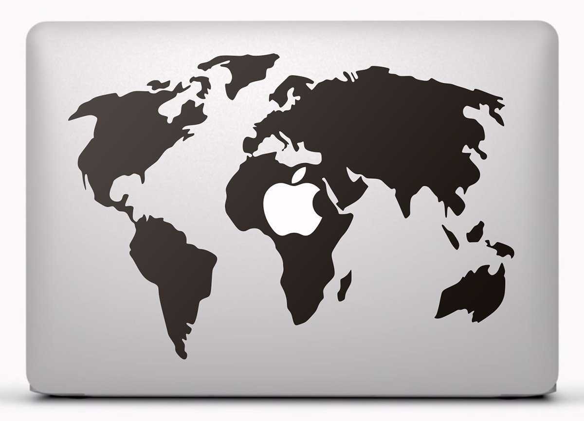 Autocollants: Carte du monde MacBook