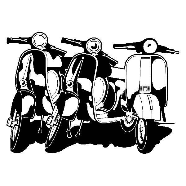 Stickers muraux: 3 Vespas