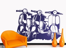 Stickers muraux: 3 Vespas 4