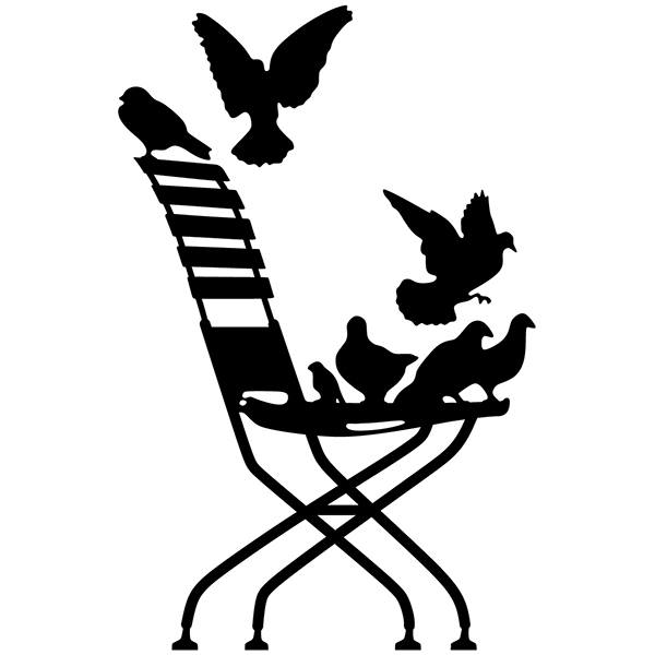 Stickers muraux: Pigeons sur chaise.