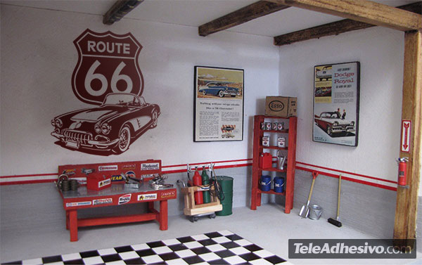 Corvette route 66 for Decoration murale route 66
