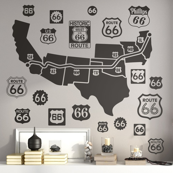 Stickers muraux: Carte et logos Route 66