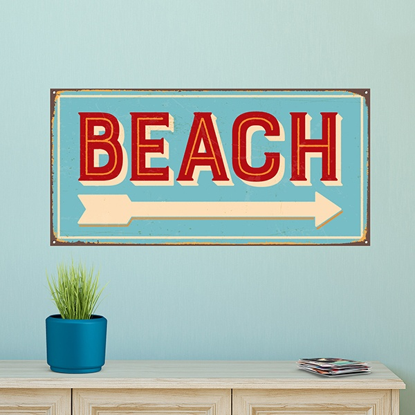 Stickers muraux: Signe retro beach
