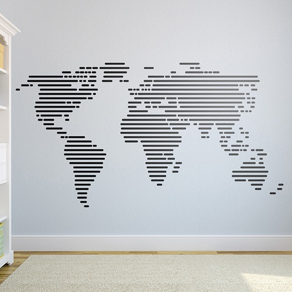 Stickers muraux carte monde de lignes