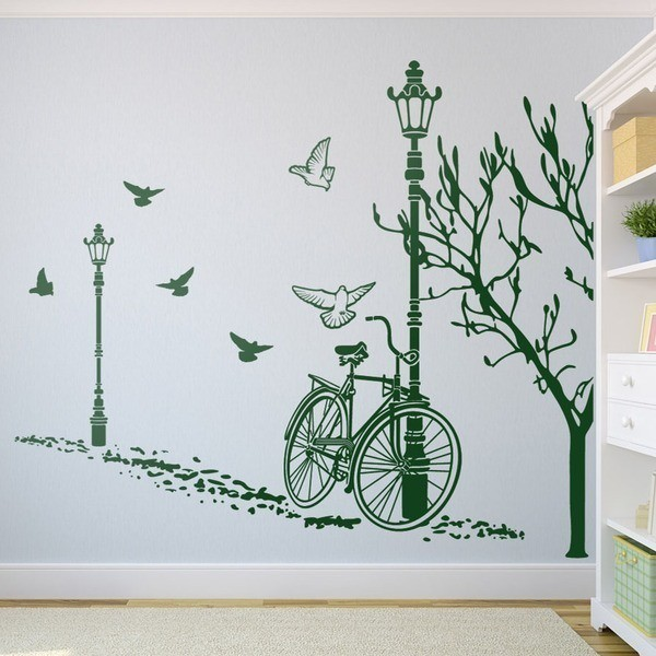 stickers muraux pas cher 15 stickers muraux autumn bike. Black Bedroom Furniture Sets. Home Design Ideas