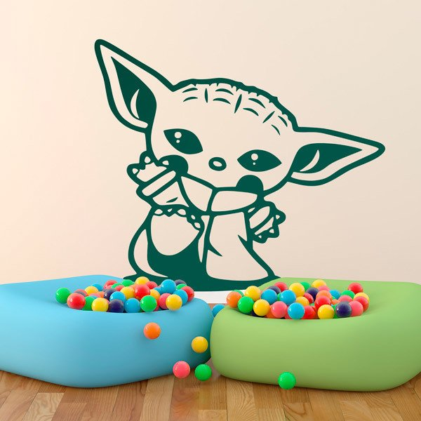 Stickers muraux: Baby Yoda salutation