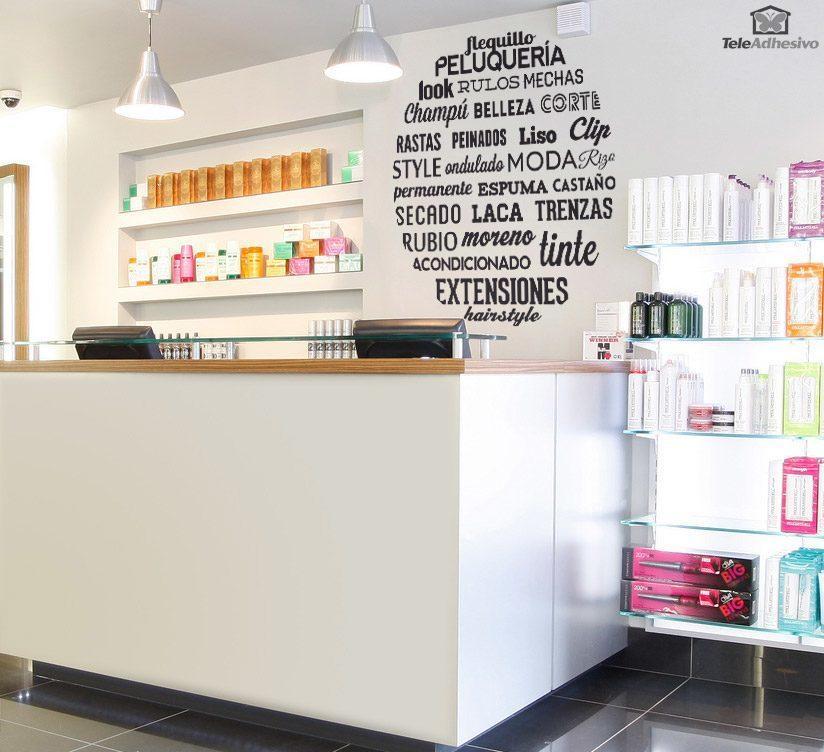 sticker mural typographique salon de coiffure. Black Bedroom Furniture Sets. Home Design Ideas