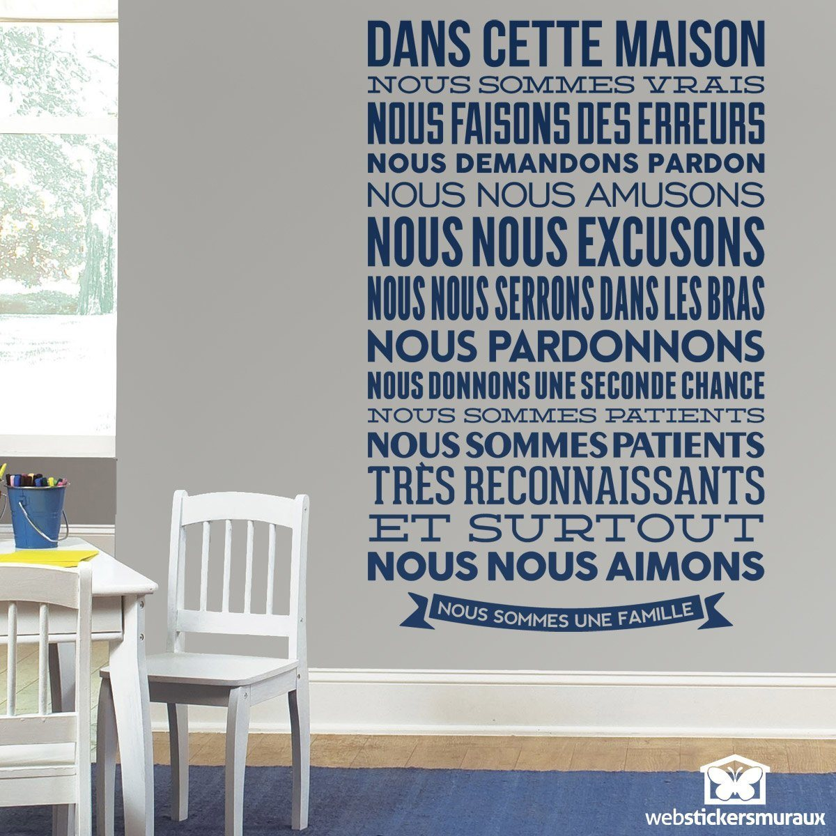 stickers muraux dans cette maison nous sommes vrais. Black Bedroom Furniture Sets. Home Design Ideas
