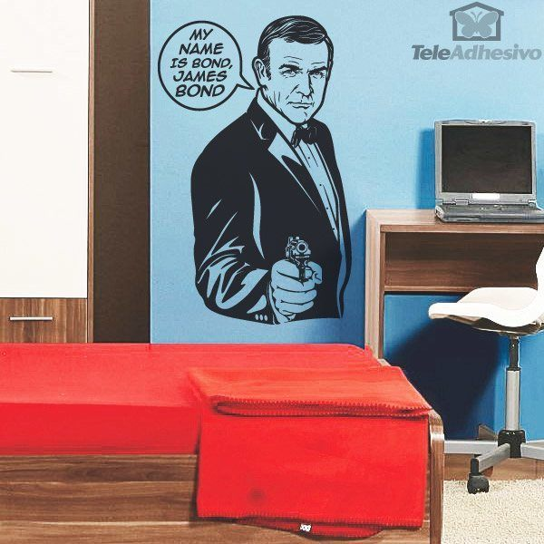 sticker mural my name is bond. Black Bedroom Furniture Sets. Home Design Ideas