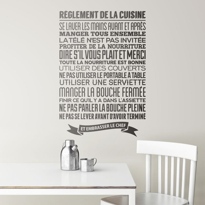 Stickers muraux r glement de la cuisine for Sticker mural cuisine