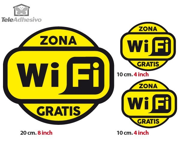 Stickers muraux: Zona Wifi Gratis 2 - Pack 3 autocollants