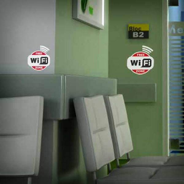 Stickers muraux: Free Wifi Zone - Pack 3 autocollants
