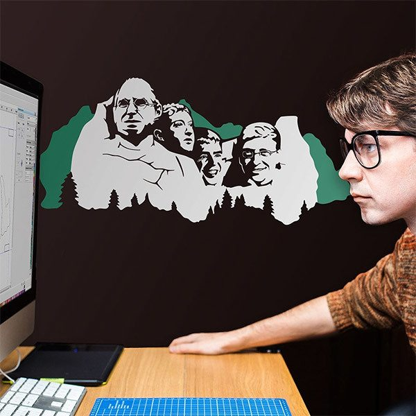 Stickers muraux: Mount Rushmore Geek 2 couleurs