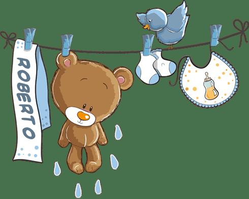Stickers pour enfants: Ours sur la corde à linge bleu avec nom