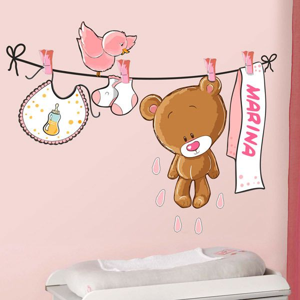 Stickers pour enfants: Custom bear on the clothesline rose 1