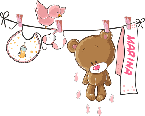 Stickers pour enfants: Custom bear on the clothesline rose