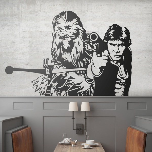 Stickers muraux: Chewbacca et Han Solo
