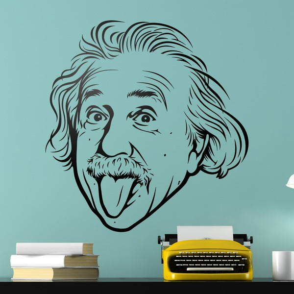 Stickers muraux: Albert Einstein sort la langue de sa bouche